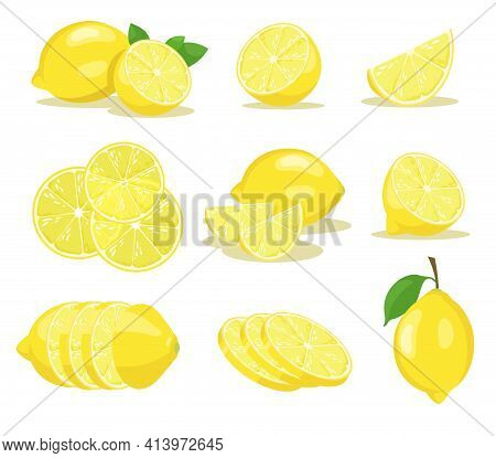 Lemon Slices Vector Illustrations Set. Yellow Citrus Fruit With Green Leaf Cut In Half Or Sliced On