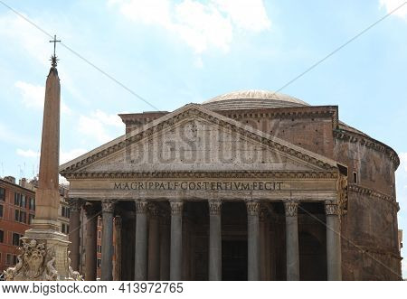 Famous Temple Called Pantheon In Rome In Italy And The Ancient Egyptian Obelisk