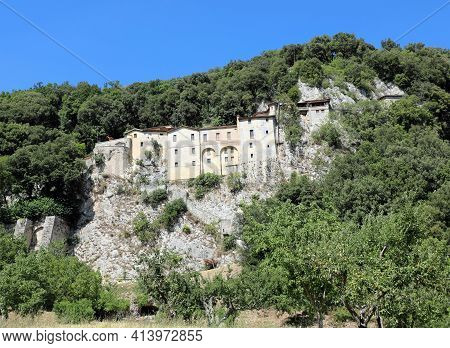 Ancient Convent In The Village Called Greccio Where Saint Francis Of Assisi Invented The First Crib
