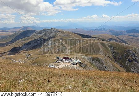Top View Of The Parking Lot In The Locality Campo Imperatore In The Abruzzo Region In Central Italy