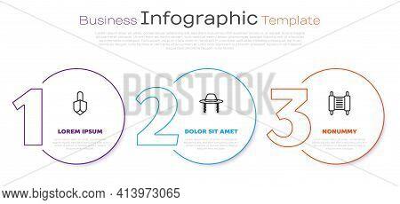 Set Line Hanukkah Dreidel, Orthodox Jewish Hat And Torah Scroll. Business Infographic Template. Vect