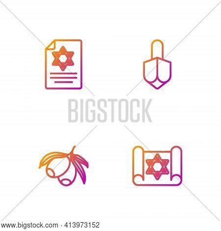 Set Line Torah Scroll, Olives Branch, And Hanukkah Dreidel. Gradient Color Icons. Vector