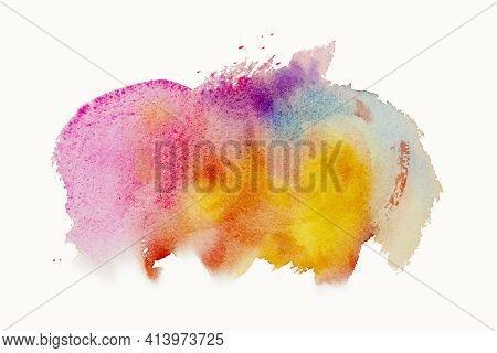 Bright Watercolor Paint Yellow-pink- Blue Brush Ink, Splash Stroke Stain Drop. Abstract Art Illustra