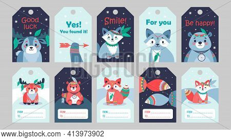 Bright Special Tag Designs With Tribal Animals. Cartoon Cute Little Deer, Racoon, Beer And Fox Chara
