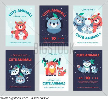 Colored Celebration Party Invitation Designs With Tribal Animals. Creative Holiday Invitations With