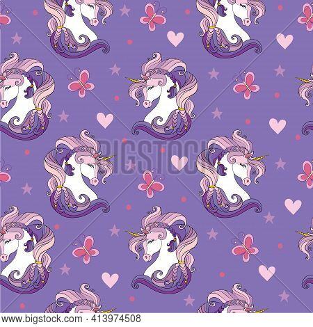Seamless Pattern With Heads Of Unicorns And Magic Elements On Purple Background. Vector Illustration