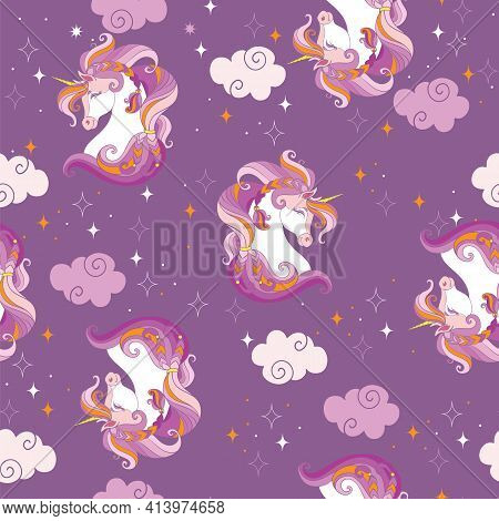 Seamless Pattern With Heads Of Unicorns And Magic Clouds On Purple Background. Vector Illustration F