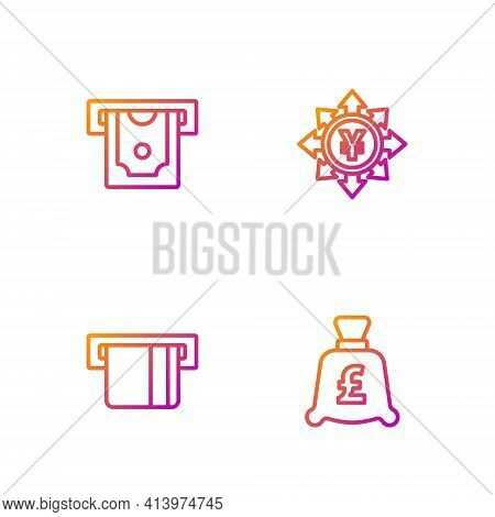 Set Line Coin Money With Pound, Credit Card Inserted, Atm And And Yen. Gradient Color Icons. Vector