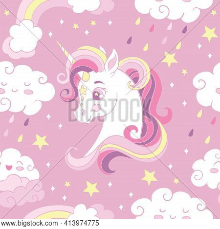 Seamless Pattern With Heads Of Unicorn And Rainbow Rain Clouds On Pink Background. Vector Illustrati