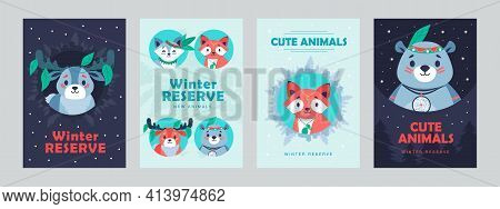 Modern Leaflet Designs With Happy Animals Wearing Accessories. Funny Wildlife Characters On Cards Wi