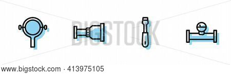 Set Line Screwdriver, Filter Wrench, Pipe Adapter And Industry Pipe And Manometer Icon. Vector