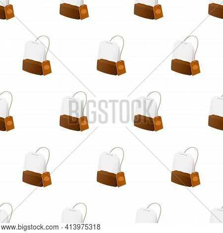 Tea Bag Seamless Pattern. Cool New Realistic Tea Images For Advertising Campaigns Or Blogs.