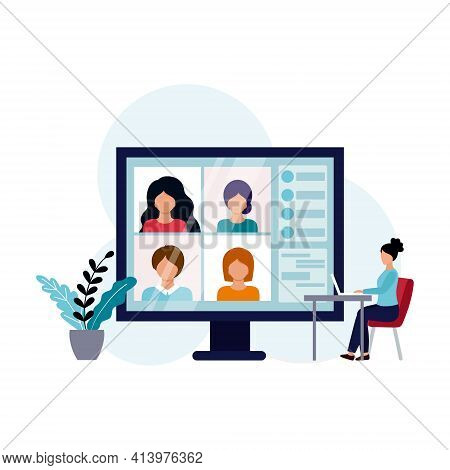 Home Video Conference With Colleagues. Remote Work From Home. The Concept Of Online Learning. Conduc