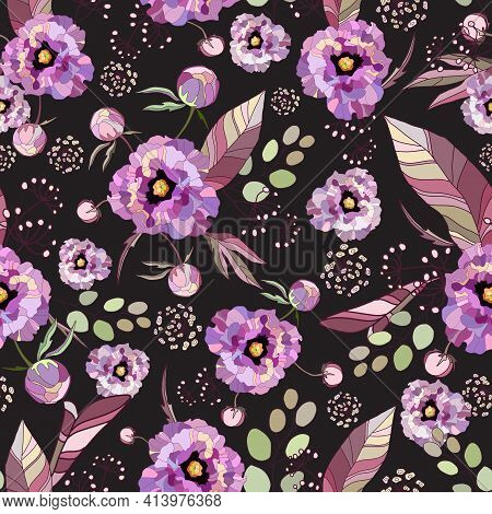 Peony And Roses. Drawn Floral Vintage Seamless Pattern. Purple Peonies Flowers, Exotic Leaves, Branc