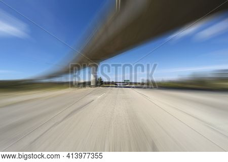Empty freeway with motion blur in Los Angeles's San Fernando Valley.