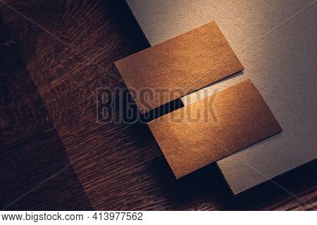 Kraft Cardboard Business Cards Design. Noble Color Rough Texture
