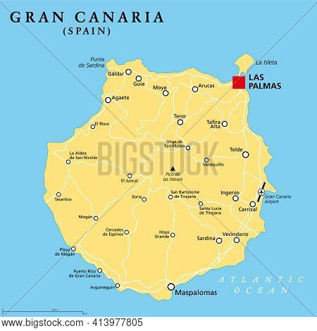 Gran Canaria Political Map With Capital Las Palmas And Important Towns. Grand Canary Island, Part Of