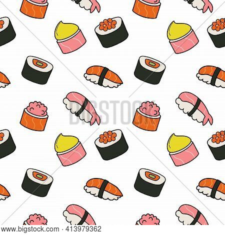 Set Of Sushi And Rolls. Seamless Pattern With Japanese Sushi. Japanese National Food. Wallpaper For
