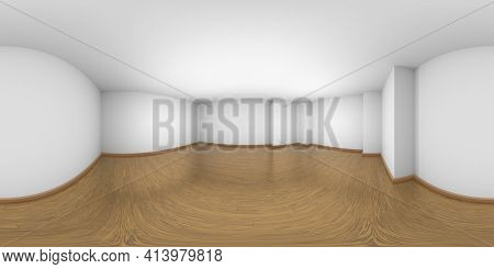Hdri Environment Map Of Empty White Room With Walls, Brown Hardwood Parquet Floor And Soft Light, Wh