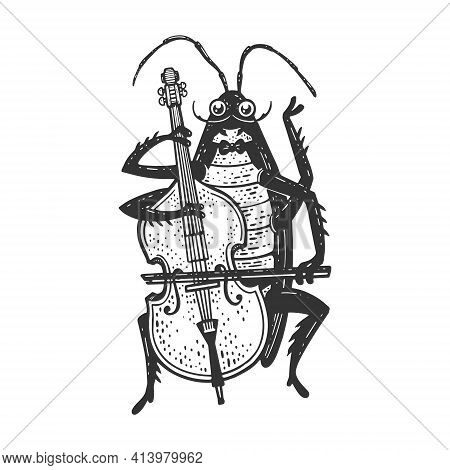 Cartoon Cockroach Orchestra Playing Double Bass Sketch Engraving Vector Illustration. T-shirt Appare