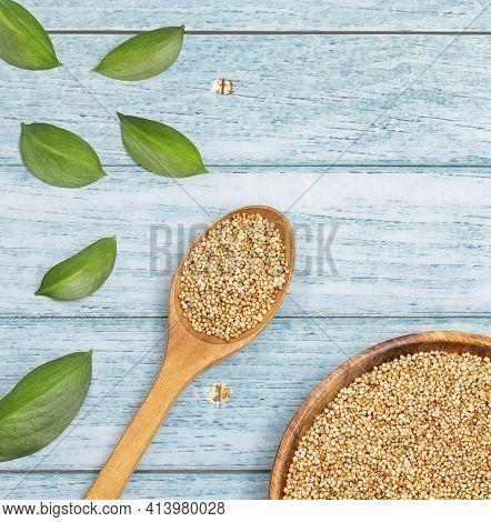 Popped Amaranth Grain - Amaranthus. Wooden Bowl