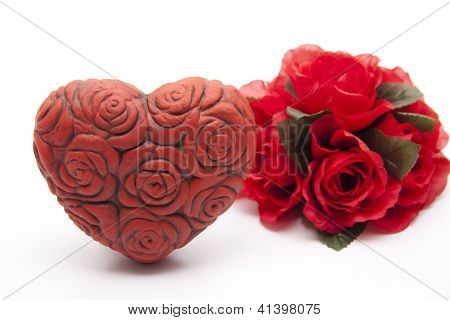 Red Flower with Red heart