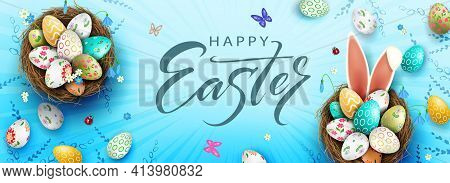 Easter Composition In Blue, Eggs In The Nest, Bunny Ears, Snowdrops Flowers
