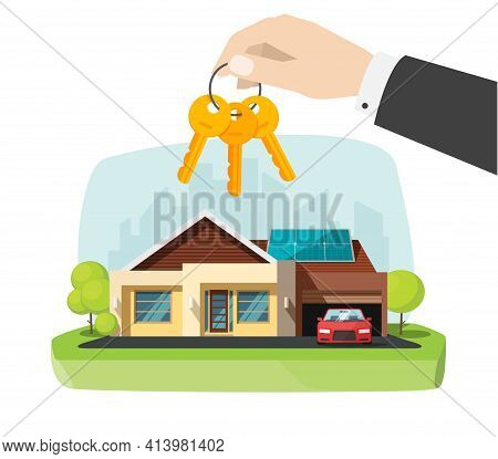 Real Estate Agent Gives New House Keys In Hand Near Modern Home Apartment Vector Flat Cartoon Illust