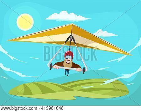 Cartoon Man Flying On Hang Glider Poster. Smiling Man Flying On Hang-glider. Sportsman Taking Part I