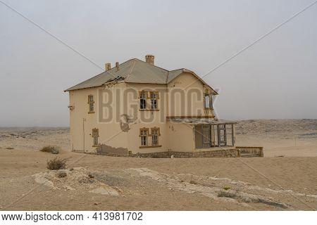Namib Desert, Namibia - January 08.2021: A House At German Kolmanskop - Kolmannskuppe Ghost Town In