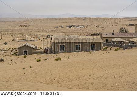 Namib Desert, Namibia - January 08.2021: German Kolmanskop - Kolmannskuppe Ghost Town In Namibia Wit