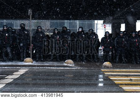 Moscow, Russia - January 31, 2021: Second Unauthorized Political Rally In Support Of The Arrested Op