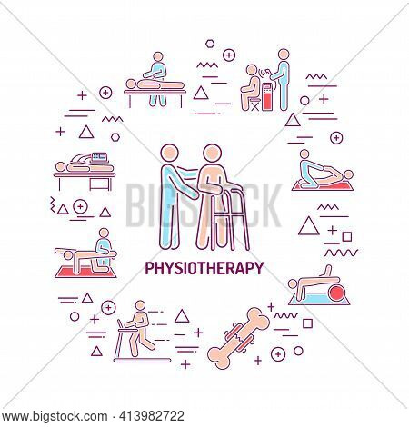 Physiotherapy Web Banner. Infographics With Linear Icons On White Background. Creative Idea Concept.