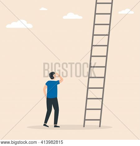 Businessman Stands In Front Of Ladders. Conquer New Heights. Ladder In Sky Above Clouds. Business Co