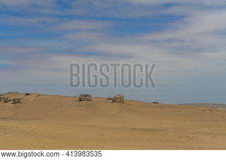 Kolmanskop. Namibia  - January 8.2021: View Over German Kolmanskop Ghost Town In Namibia With The Ab