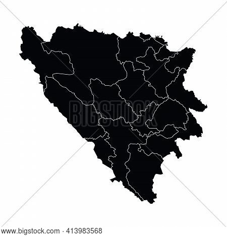 Bosnia Country Map Vector With Regional Areas