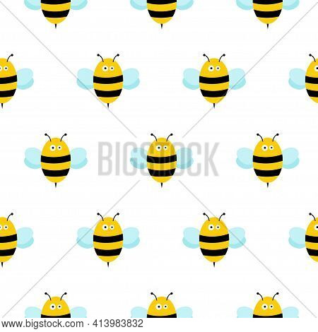 Bee Icon. Ornament. Pattern. Honey Bee. Isolated Insect Icon. Flying Bee.