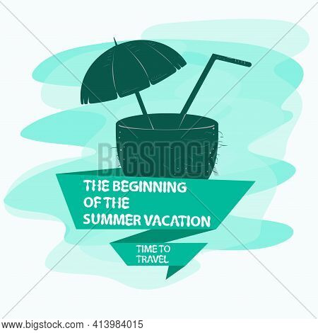 Icon Sticker For Design Design On The Theme Of Vacation Vacation And Travel, Coconut With A Drink In