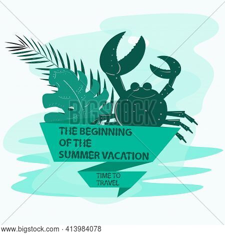 Icon Sticker For Decoration Design On The Theme Of Vacation Vacation And Travel, Sea Crab And Palm L