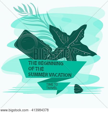 Icon Sticker For Design Design On The Theme Of Vacation Vacation And Travel, Starfish And Camera, Wi
