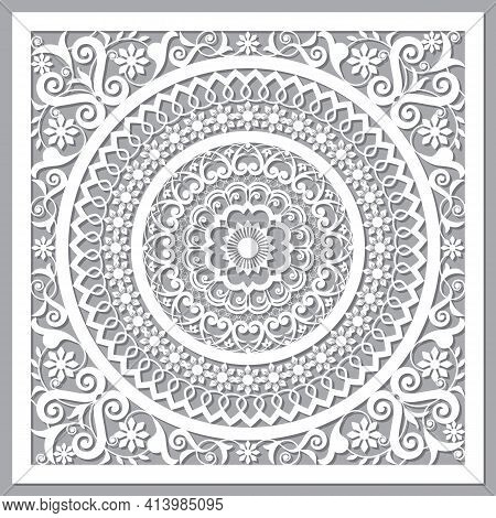 Traditional Moroccan Vector Openwork Mandala Design Inspired By The Old Carved Wood Wall Art Pattern
