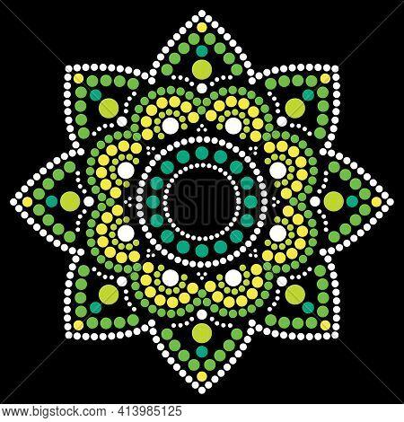 Dot Painting Vector Ethnic Mandala, Traditional Aboriginal Dot Painting Design, Ethnic Floral Decora