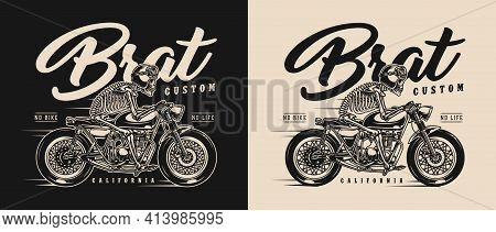 Brat Style Motorcycle Vintage Label With Skeleton Racer In Moto Helmet And Goggles Riding Custom Mot