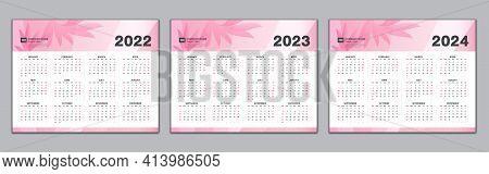 Calendar 2022, 2023, 2024 Year Template, Simple Calendar, Desk Calendar Design,  Wall Calendarweek S