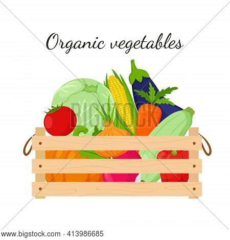 A Wooden Box Full Of Vegetables, Pumpkin, Corn, Carrots, Beets, Eggplant, Zucchini, Cabbage. Natural