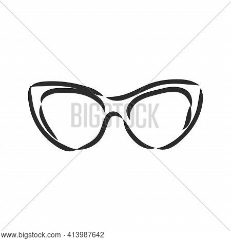 Beautiful Hand Drawn Fashion Vector Illustration: Hipster Glasses. Trend Graphic Glamour Fashion Ske