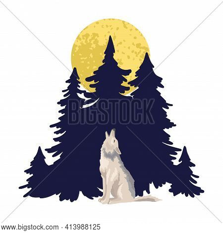 One Wolf Howls To Moon Against The Background Of A Dark Forest. Wild Beast At Night. Vector Characte