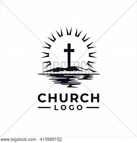 Church Logo Design Vector With Mountain Sun And Lake For Community
