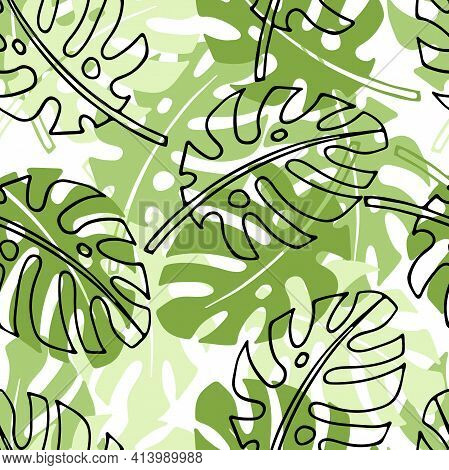 Tropical Leaves Seamless Pattern. Doodle And Flat Sketch Illustration. Floral Botanical Plants Tree