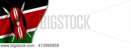 Kenya Flag On White Background. White Background With Place For Text Near The Flag Of Kenya.